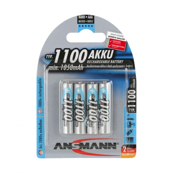 Ansmann Micro 1100mAh AAA Rechargeable Nickel–metal hydride battery (4 Pack)
