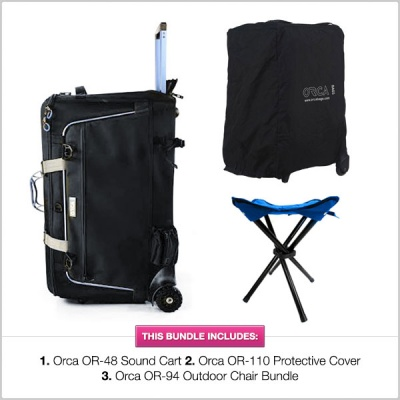 Orca OR-48 ORCART Sound Cart with OR-110 ORCART Cover & OR-94 Outdoor Chair Bundle
