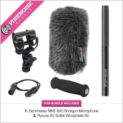 Sennheiser MKE-600 Shotgun with Rycote AV Softie Windshield Bundle