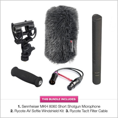 Sennheiser MKH-8060 Microphone with Rycote AV Softie Windshield & Tac!t Filter Cable Bundle