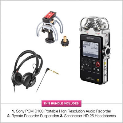 Sony PCM D100 Bundle, with HD Rycote Portable Recorder Suspension, & Sennheiser HD25 Headphones
