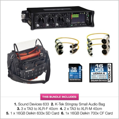 Sound Devices 633 Mixer with K-Tek Stingray Bag Small, TA3 cables and SD & CF Card Bundle