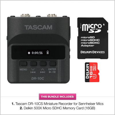 Tascam DR-10CS Miniature Recorder with FREE Delkin 500X MicroSD Card (16GB) Bundle