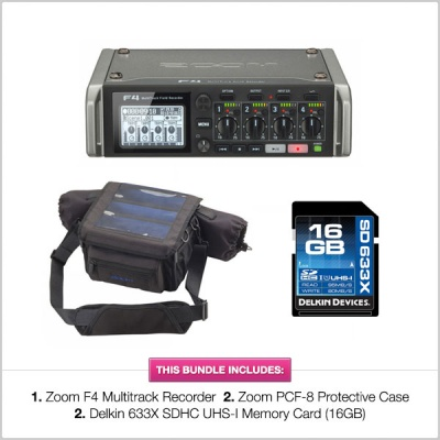 Zoom F4 Recorder with PCF8 Bag & Delkin 633X 16GB SD Card Bundle