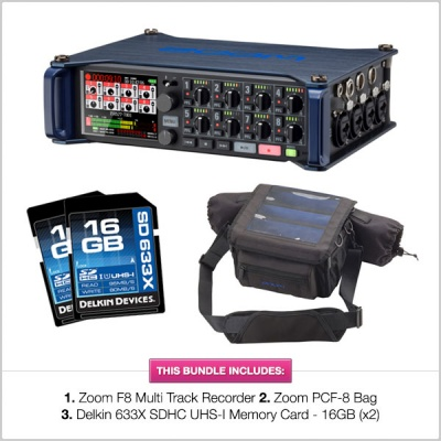 Zoom F8 Mutitrack Field Recorder with Zoom PCF-8 Bag & 16GB SD Cards Bundle