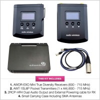 Audio Wireless AWT/EXO Kit 3 - AWT-1SL6P120 Transmitter & AWDR-EXO120 Receiver (600 - 715 MHz)