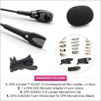DPA d:screet™ SCO61-S Omnidirectional Slim Lavalier Microphone, Lo-Sens & Accessories Special Offer Bundle