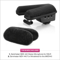 Sennheiser MKE 440 Stereo Microphone for DSLR + Windshield Bundle