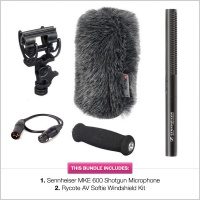 Sennheiser MKE-600 Shotgun with 15cm Rycote AV Softie Windshield Bundle