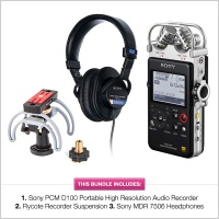 Sony PCM D100 Mega Bundle w/ Rycote HD Recorder Suspension & Sony MDR 7506 Headphones