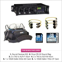 Sound Devices 633 with Orca OR-30, TA3 Cables, SD & CF Card Bundle