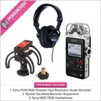 Sony PCM D100 Bundle, with Rycote recorder suspension, & Sony MDR 7506 headphones