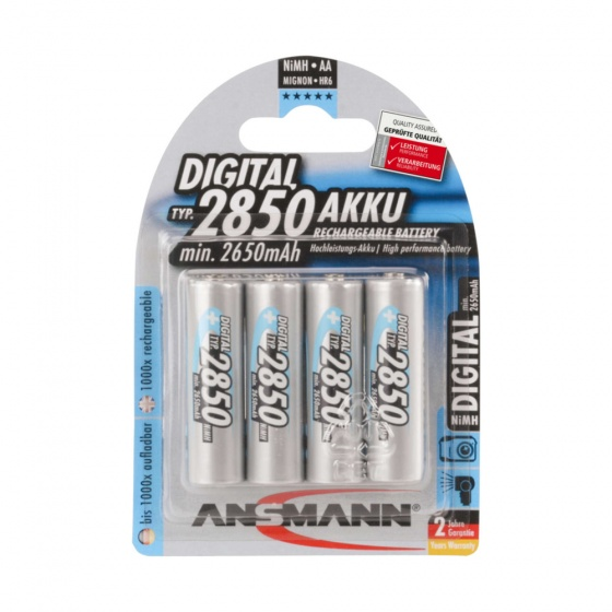 Ansmann Mignon 2850mAh AA NiMh Rechargeable Nickel–Metal Hydride Battery (4 Pack)