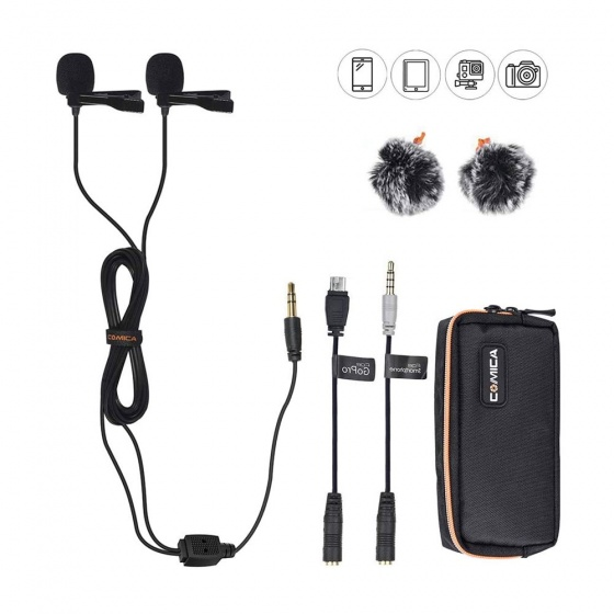 Comica CVM-D02 Dual Head Detachable & Multi-Functional Lavalier Mic