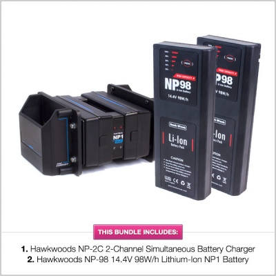 Hawkwoods NP1 Bundle: Hawkwoods NP-2C Simultaneous Charger w/ x2 NP-98 Batteries