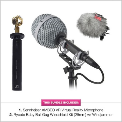 Sennheiser AMBEO VR with Rycote Baby Ball Gag (25mm) + Windjammer