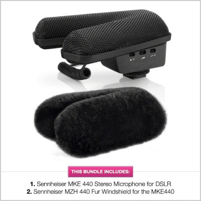 Sennheiser MKE440 Stereo DSLR Microphone with 1/2 PRICE Windshield