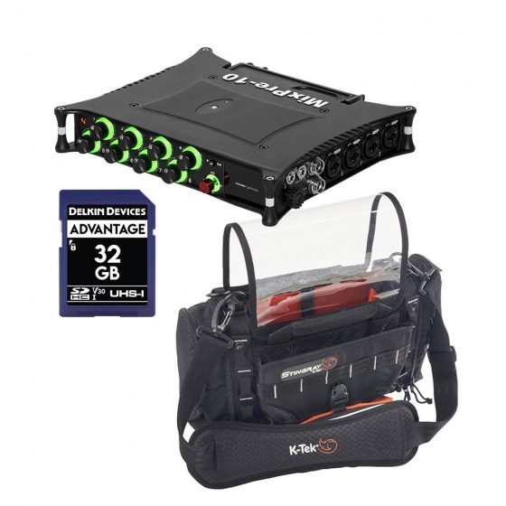 Sound Devices MixPre-10 II + K-TEK Stingray Junior Sound Bag w/ SD Card Bundle