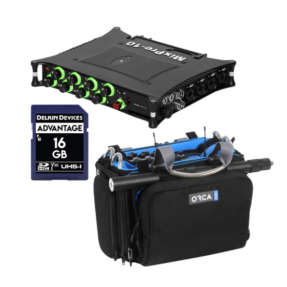 Sound Devices MixPre-10 II + Orca OR-280 Sound Bag w/ SD Card Bundle