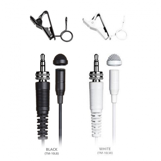 Tascam TM-10L Omnidirectional Lavalier Microphone (Black/White)