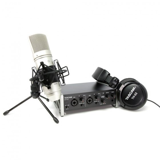 Tascam Trackpack 2x2 USB Interface w/ TM-80 Microphone & TH-02 Headphones Bundle