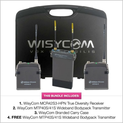 WisyCom Stand-Alone 2-Channel MCR42 Complete Kit