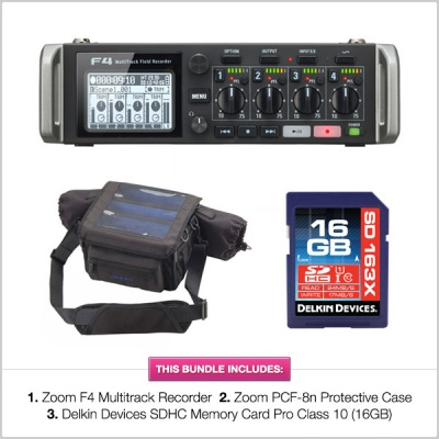 Zoom F4 Multitrack Audio Recorder w/ Zoom PCF-8n Bag & Delkin 16GB SD Card