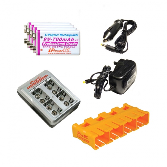 iPower US 9V Battery Charger Kit Bundle