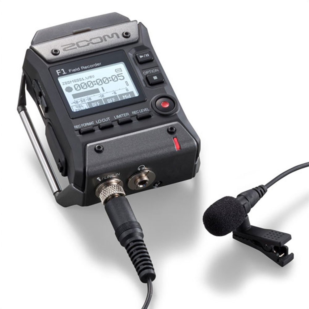 Zoom F1 Field Recorder with Lavalier Microphone Bundle w//32GB Card,Closed Ear He