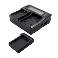 Bluemax NP-W126 Dual Twin LCD Battery Charger w/ 2x Fuji NP-W126 Charger Plate for NP-50 Batteries