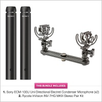 Sony ECM-100U Uni-Directional Electret Microphone Stereo Kit Bundle
