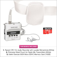 Tascam DR10L White with Pinknoise Waist Pouch and FREE Delkin 16GB MicroSD Card Bundle
