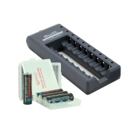 iPowerMAX 8-Bay AA Battery Charger Kit with 8 x Lithium Polymer AA Batteries & Cases