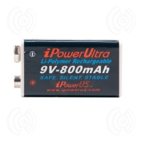 iPowerUS 9V Lithium 800 mAh Rechargeable Battery
